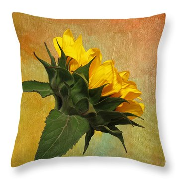 Throw Pillow featuring the photograph Painted Golden Beauty by Judy Vincent