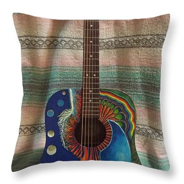 Painted Guitar Throw Pillow by Steve  Hester