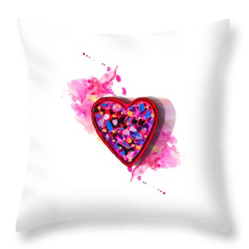 Throw Pillow featuring the digital art Painted Heart by Christine Perry