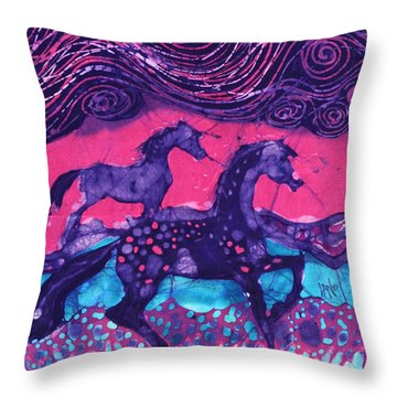 Painted Horses Below The Wind Throw Pillow by Carol  Law Conklin