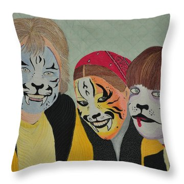 Throw Pillow featuring the tapestry - textile Painted Ladies by Jo Baner