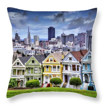 Painted Ladies Of San Francisco  Throw Pillow