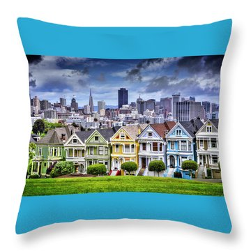 Painted Ladies Of San Francisco  Throw Pillow by Carol Japp