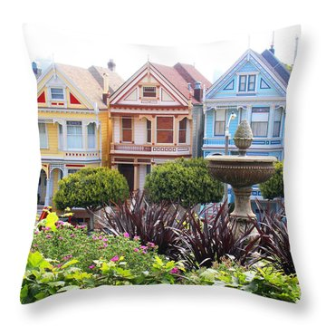 Painted Ladies San Francisco Throw Pillow by Cheryl Del Toro