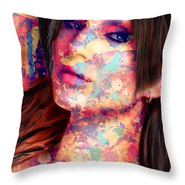Throw Pillow featuring the painting Painted Lady by Mark Taylor