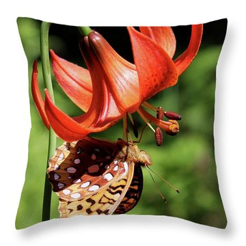 Painted Lady On Lily Throw Pillow