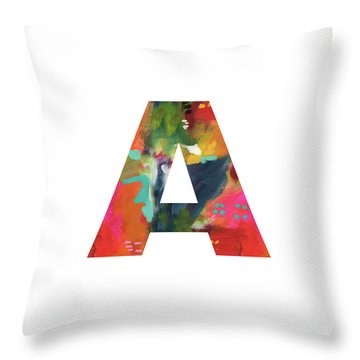 Painted Letter A -monogram Art By Linda Woods Throw Pillow