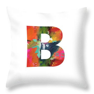 Painted Letter B-monogram Art By Linda Woods Throw Pillow