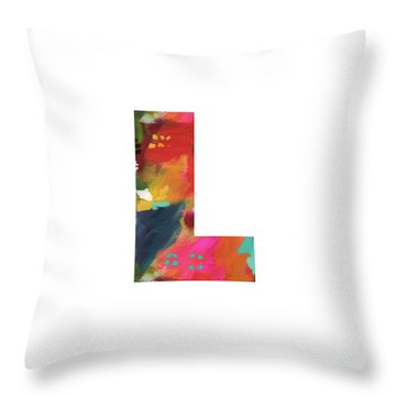 Painted Letter L-monogram Art By Linda Woods Throw Pillow