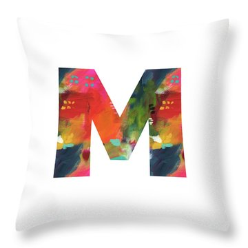 Painted Letter M-monogram Art By Linda Woods Throw Pillow
