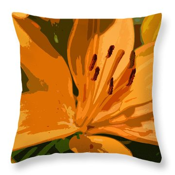 Painted Lily Throw Pillow by Kathleen Stephens