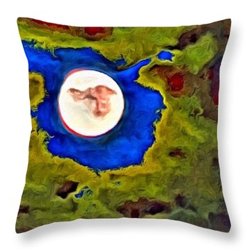Painted Moon Throw Pillow