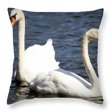 Painted Mute Swans Of Lake Junaluska North Carolina II Throw Pillow