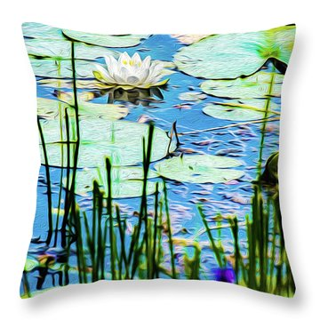 Throw Pillow featuring the mixed media Painted North American White Water Lily by Onyonet  Photo Studios