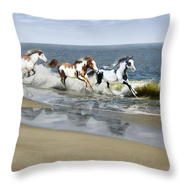 Painted Ocean Throw Pillow by Barbara Hymer