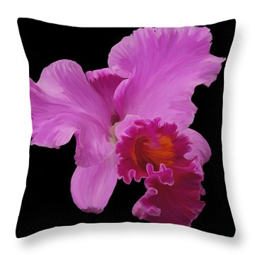 Throw Pillow featuring the photograph Painted Orchid by Phyllis Denton
