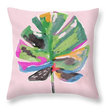 Throw Pillow featuring the mixed media Painted Palm Leaf 2- Art By Linda Woods by Linda Woods