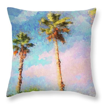 Painted Palms Throw Pillow
