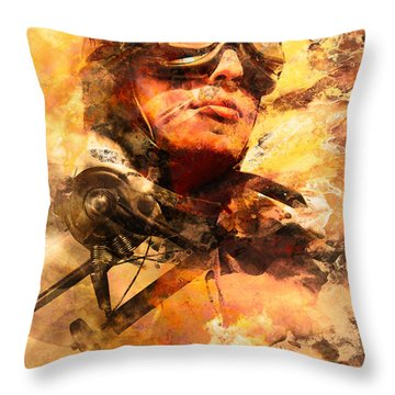 Throw Pillow featuring the photograph Painted Pilots At War by Jorgo Photography - Wall Art Gallery