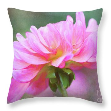 Painted Pink Dahlia Throw Pillow