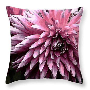 Painted Pink Dahlia Throw Pillow by Erica Hanel