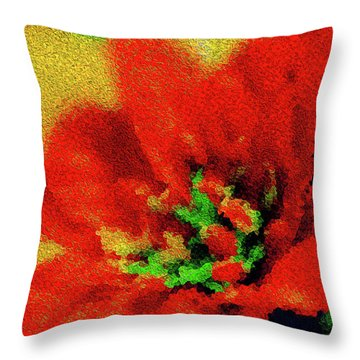 Painted Poinsettia Merry Christmas Throw Pillow by Sandy Moulder