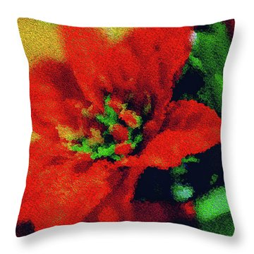 Painted Poinsettia Throw Pillow by Sandy Moulder