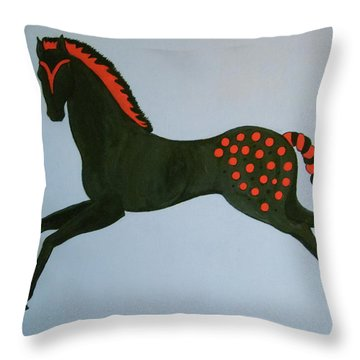 Throw Pillow featuring the painting Painted Pony by Stephanie Moore
