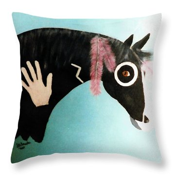 Painted Pony With Feather Throw Pillow by Joseph Frank Baraba