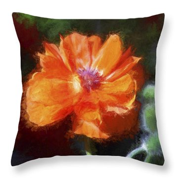 Painted Poppy Throw Pillow