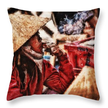 Painted Puffer Throw Pillow