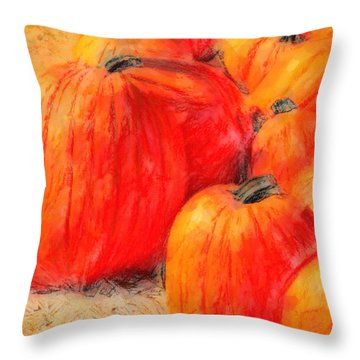 Painted Pumpkins Throw Pillow