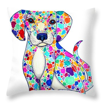 Painted Puppy Throw Pillow by Nick Gustafson