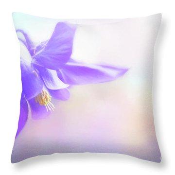 Painted Purple Columbine Throw Pillow