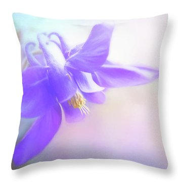 Painted Purple Columbine Throw Pillow