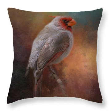 Painted Pyrrhuloxia Throw Pillow