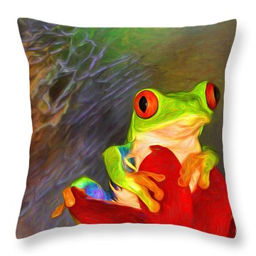Painted Red Eyed Tree Frog Throw Pillow