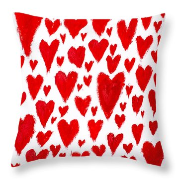 Painted Red Hearts Throw Pillow