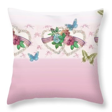 Painted Roses With Hearts Throw Pillow