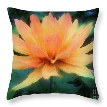 Painted Tangerine Dahlia Throw Pillow