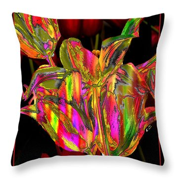 Throw Pillow featuring the photograph Painted Tulips by Irma BACKELANT GALLERIES