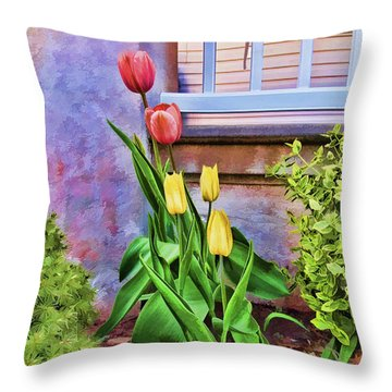 Painted Tulips Throw Pillow