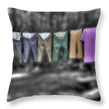 Throw Pillow featuring the photograph Painted Washline In Plymouth Nh by Wayne King