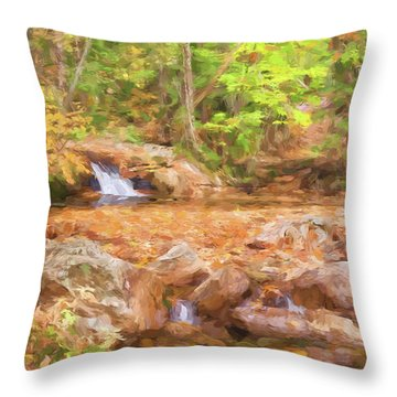 Painted Waterfall Foliage Throw Pillow