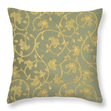 Painterly Chenin Gold Damask On Sage Linen Throw Pillow by Tina Lavoie