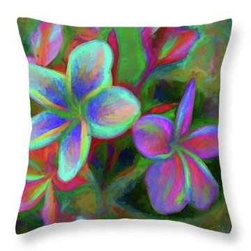 Painterly Frangipanis Throw Pillow