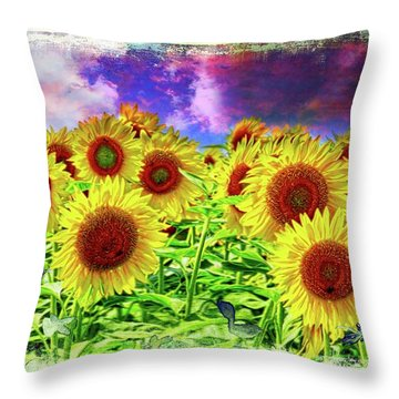 Painterly Sunflowers Throw Pillow