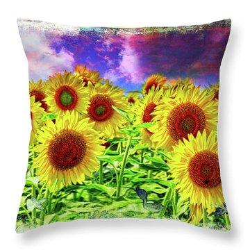 Painterly Sunflowers Throw Pillow