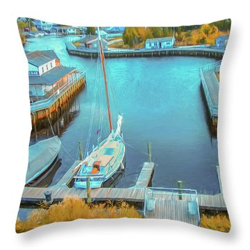 Painterly Tuckerton Seaport Throw Pillow