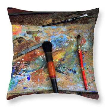 Throw Pillow featuring the photograph Painter's Palette by Jessica Jenney